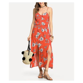 Red Floral Sleeveless M Slit Maxi Dress