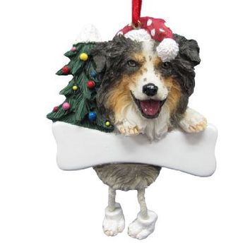 "Australian Shepherd Ornament with Unique ""Dangling Legs"" Hand Painted and Easily Personalized Christmas Ornament"