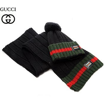 GUCCI Fashion Winter Knit Women Men Beanies Scarf &Cap Black