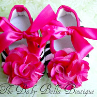 Baby Girl hot pink  Zebra Crib Shoes Pink by TheBabyBellaBoutique