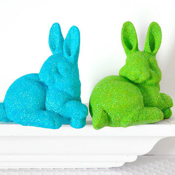 Neon Bunny Rabbit Decoration in Green Glitter for Boy or Girl Nursery, Baby Shower Table Settings, Birthday Party or Home Decor