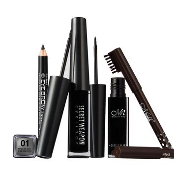 Menow 2017 hot Eyes Makeup Kit Waterproof Black Liquid Eye Liner + Black Brown Eyebrow Pencils Professional Eyebrow Kit