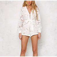 dark magnolia - constructed romper with nude lining - white