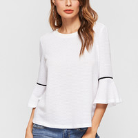 White Ruffle Cuff Elbow Sleeve Top -SheIn(Sheinside)