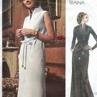 Designer Vogue Americana 1970s Sewing Pattern Teal Traina Evening Gown Cocktail Dress A-line Slit Skirt Bust 34