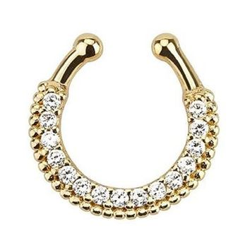 Single Line Paved Clear Gem Gold IP Non-Piercing Fake Septum Hanger 510GC