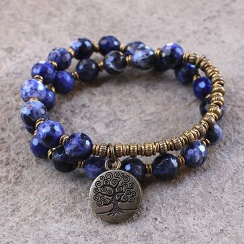Peace, Sodalite 27 Bead Wrap Bracelet with A Tree Of Life Charm