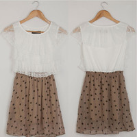 Korean Fashion Sweet Summer Women Lace Chiffon Sleeveless Dress Dot Mini Dress