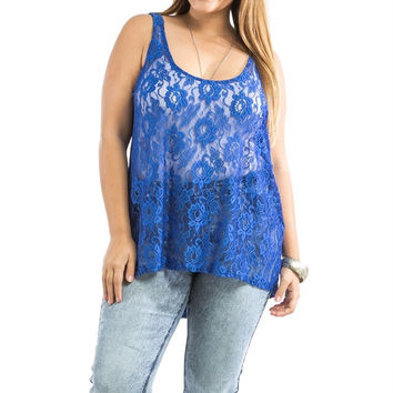 1d21cd888812b Plus Size Sheer Front Lace   Solid Back Tank Top in Blue