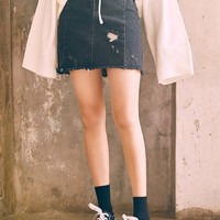 Make It H-Line Distressed Mini Denim Skirt