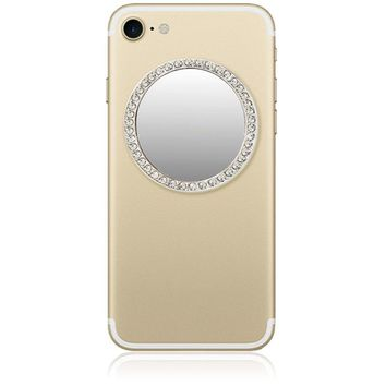Selfie Round Phone Mirror with Crystals