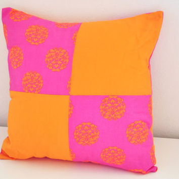 Bright Pink & Orange Cushion - Pretty Indian Inspired Pillow with Vibrant Print - Funky Patchwork and Asian Inspired