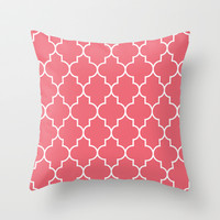 Constantine Lattice Coral Pink Throw Pillow by House of Jennifer