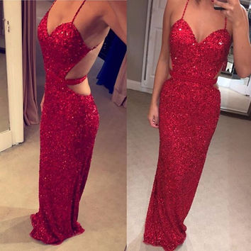 Backless Red Sequin Spaghetti Straps Prom Dresses