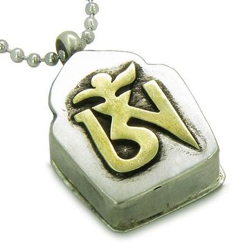 Amulet Tibetan Ancient Gold Tone OM Magic Prayer Box Secret Keeper Pewter Pendant Necklace