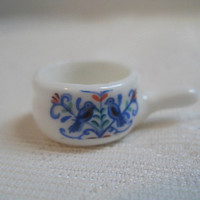 Dollhouse Serving Dish Blue Birds Miniature Ceramic Dish with Handle 1:12 Scale Miniature