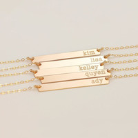 Gold Plated Bar Custom Engraved Name Necklace Personalized Initial Necklace