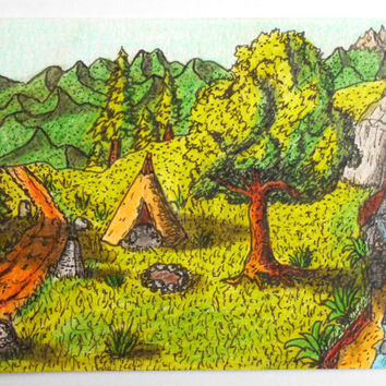 Aceo art print, ink and pencil drawing print, landscape art print, 'A new beginning' camping forest art