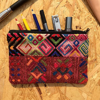 Mexican folk art Pencil Case - authentic handmade hippy embroidered Mexican folk Mayan accessory pouch pencil case make up bag
