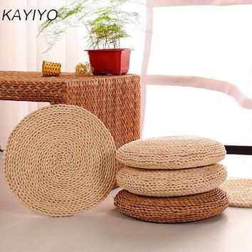 KAYIYO  Round Hip Pillow Pouf Natural Straw Round Pouf Tatami Cushion Floor Cushions Meditation Yoga Round Mat Zafu Chair Pillow