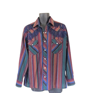 Cowboy Western Shirt Men Wrangler Shirt Pearl Snap Shirt Southwestern Shirt Men Fringe Shirt Burgundy Shirt Blue Shirt Men Southwest Shirt
