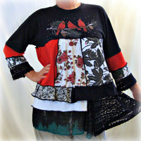 Womens Layered Tunic, Lagenlook, Asymmetric Tunic, Redbird