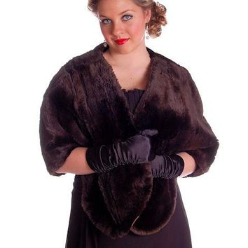 Vintage Soft Chocolate Brown Beaver Fur Stole 1940's Perfect Strapless Dress Topper