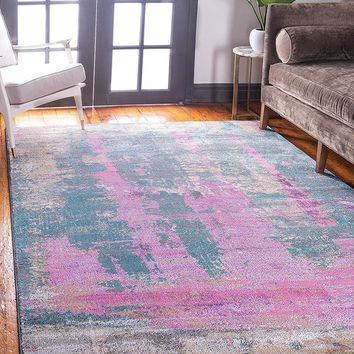 0146 Purple Over-Dyed Abstract Contemporary Area Rugs