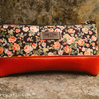 Cosmetic or Pencil  bag/case  Vintage Orange Roses by GimCarry