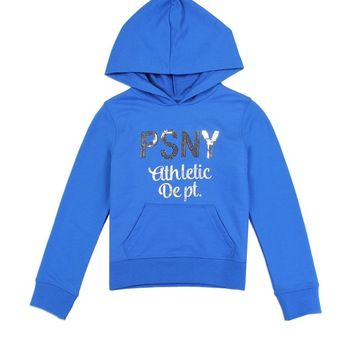 Girls French Terry Zip Hoodie w/ Sequin Logo (Royal Blue)