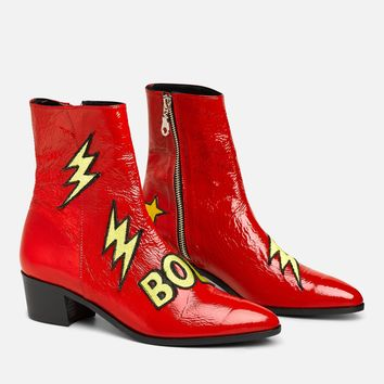 RED PATENT BOLT PATCH BOOT