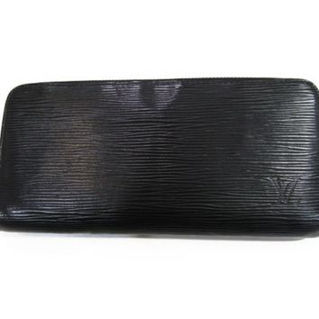 LOUIS VUITTON Zippy Round Long Wallet Black Epi leather M60072