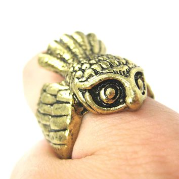 Antique Owl Bird Animal Wrap Around Ring in Brass | Sizes 5 - 8