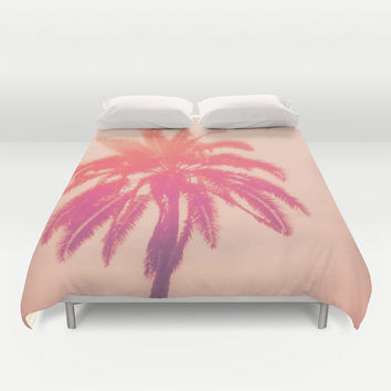 Salmon Palm - Duvet Cover, Pink Palm Tree, Beach Surf Bedding, Bohemian Chic Bed Blanket Throw Cover Accent. In Full / Queen / King Size