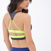 FOREVER 21 Medium Impact - Contrast-Back Sports Bra Charcoal/Green Small