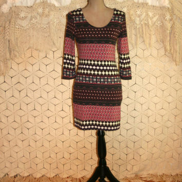 Mini Dress Boho Dress 3/4 Sleeve Tribal Dress Fall Dress Winter Dress Wiggle Dress Fair Isle Sweater Dress Pink Brown Small Womens Clothing