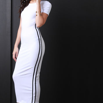 Double Striped Side Maxi Dress