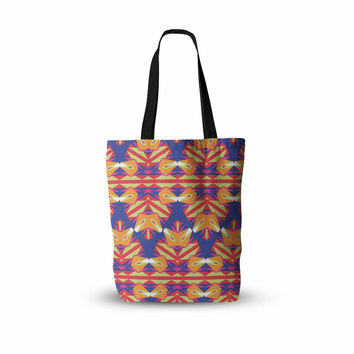 "Miranda Mol ""Ethnic Border"" Indigo Orange Everything Tote Bag"