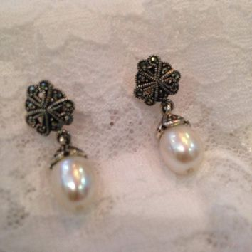 Vintage Genuine Marcasite and Real White Pearl 925 Sterling Silver Dangle Earrings