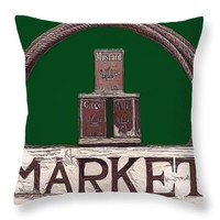 "Market Sign Throw Pillow for Sale by Pamela Walton - 14"" x 14"""