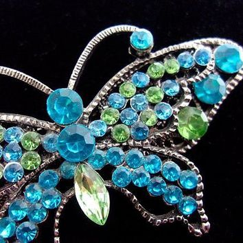 Turquoise Blue Green Rhinestone Butterfly Brooch, Silver Tone, 2 Layer Vintage