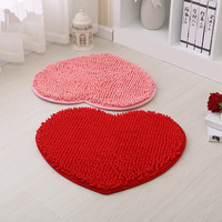 Romantic Heart-shaped 40x50cm Chenille Bath Mats, Cheap Thicken Water Absorption Bathroom Rug Carpet Non-slip Floor Bath Mats