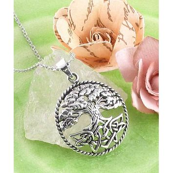 Lush Tree of Life with Celtic Knot Roots Pendant