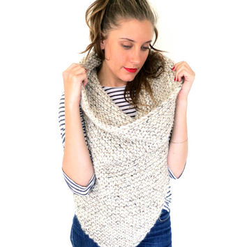 Chunky Soft Knit Poncho Cowl // Shield Cowl in Sound of Silence // Many Colors and Vegan Options Available