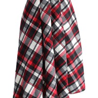 Swing Melody Asymmetric Skirt in Red Plaid