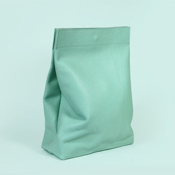 "High Quality Handmade Leather Lunch Bag ""Claude Menthol"" / Small Mint Bag / Lunchbag / Clutch / Purse"