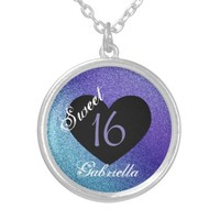 Personalized: Purple and Black 2 Sweet 16 Necklace