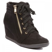 Yab Lace-up Upper Hidden Wedge Sneaker in Black @ yabshop.com
