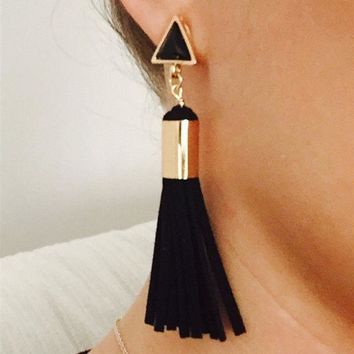 ES1060 Vintage Triangle Tassel Drop Earrings Faux Suede Fabric Long Dangle Earrings for Women Brincos oorbellen boucle d'oreille