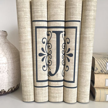 Personalized Initial Books - Initial Decorative Books - Letter J Books - Neutral Books - Housewarming Gift - Custom Books
